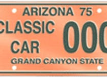The Arizona classic car specialty plate is only available for vehicles on the Classic Car Club of America's list.