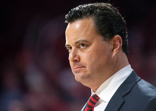 Arizona coach Sean Miller looks on from the sideline during the second half of a game against Washington State at McKale Center.