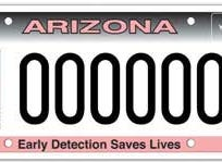 Arizona pink ribbon and cancer awareness specialty license plate