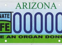Arizona transplant awareness and organ donor specialty license plate