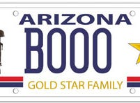 The Arizona Gold Star family specialty license plate is available to those who who lost an immediate family member while they were on active duty in the U.S. Armed Forces.