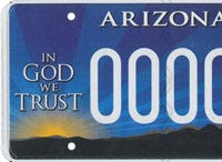 "The Arizona ""In God we trust"" specialty license plate supports the controversial group Alliance Defending Freedom."