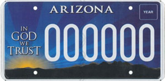 """The Arizona """"In God we trust"""" specialty license plate supports the controversial group Alliance Defending Freedom."""