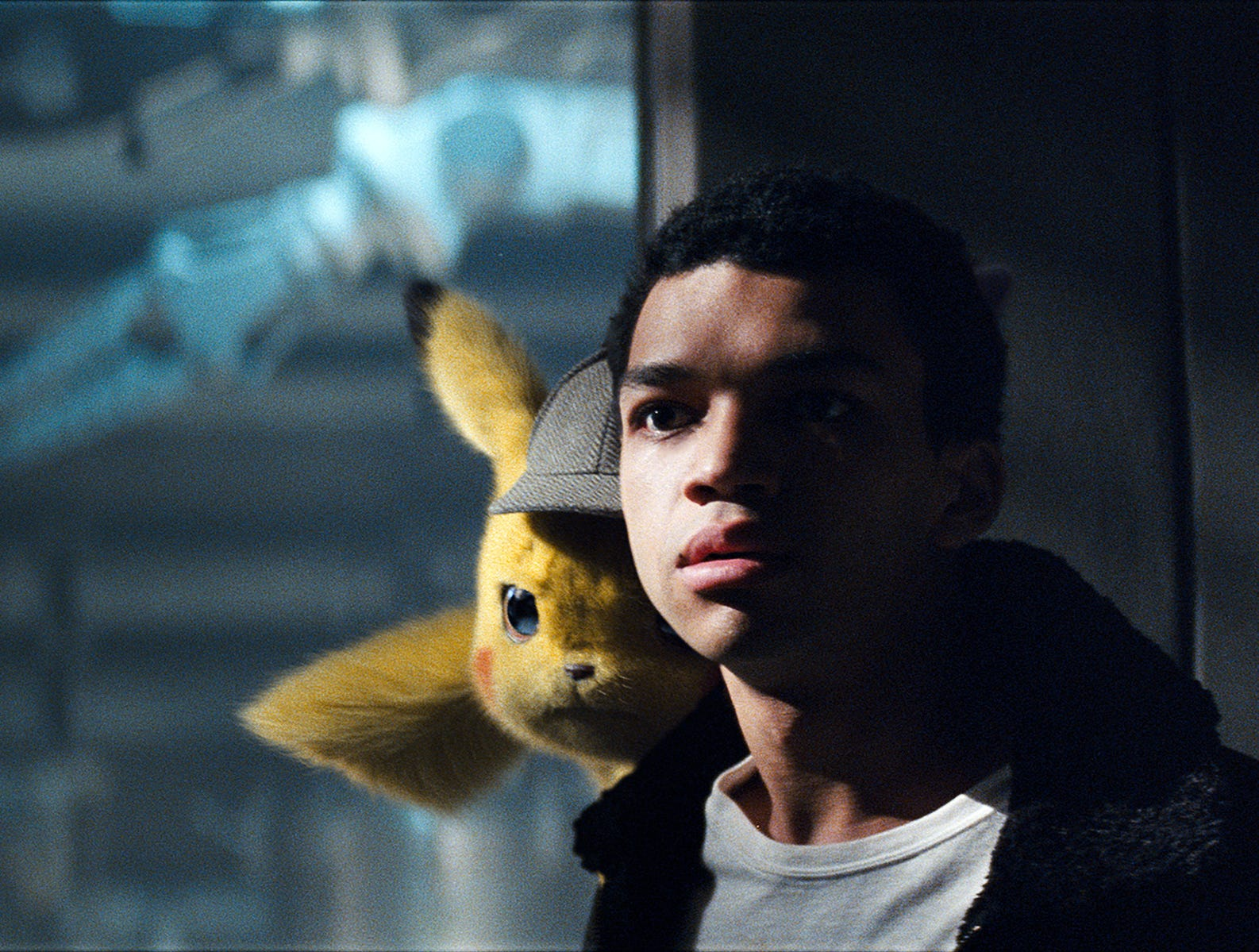 "Tim (Justice Smith) didn't always like carrying Pikachu on his shoulder in ""Pokemon Detective Pikachu."""
