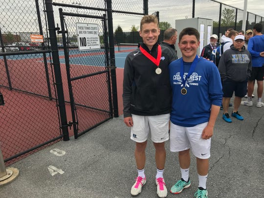 The Lancaster-Lebanon League 3A doubles champs, Jack Muraika, left, and Dylan Tull.