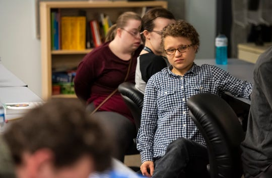 Hannah Schroll, a student in St. Clair County RESA's Next STEP transition program, speaks during class Tuesday, April 30, 2019.