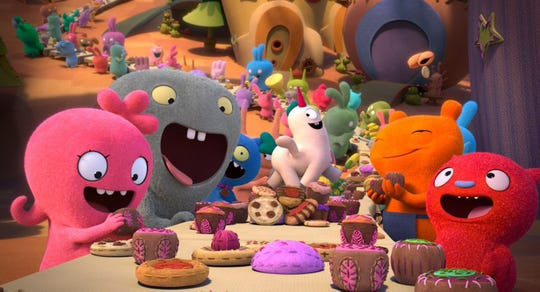 """The latest children's toy sent into the movie-transformation merch machine are the colorful, blobby plushies known as Uglydolls, whose adventures feature in the new animated film """"UglyDolls."""" The movie opens May 2 at Regal West Manchester."""