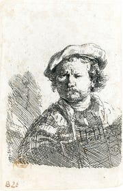 """This is the etching, """"Self Portrait in a Flat Cap and Embroidered Dress,"""" by Rembrandt circa 1642."""
