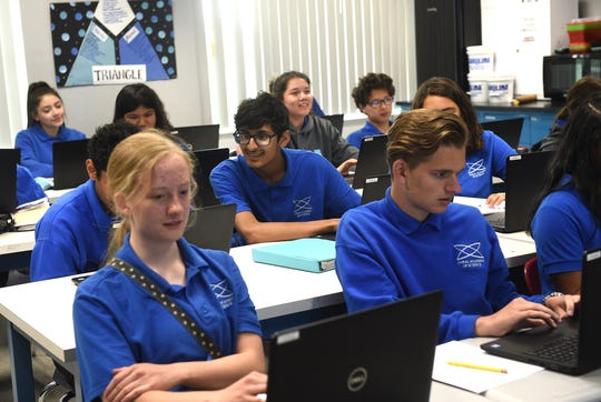 Students in science teacher Dalene Fitzsimmons' class are seen at the Coral Academy of Science High School in Reno on April 30, 2019.