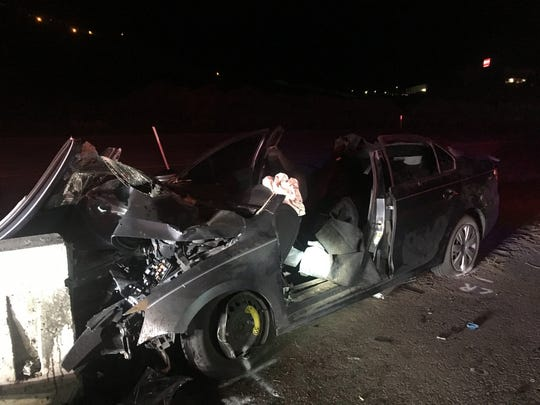 The Nevada Highway Patrol released a photo of the car that was involved in a fatal crash on U.S. 395, just north of Parr Boulevard. The crash occurred on Friday, April 26, 2019.