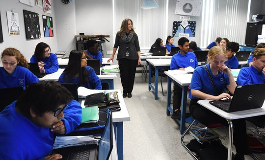 Science teacher Dalene Fitzsimmons teaches an afternoon class at the Coral Academy of Science High School in Reno on April 30, 2019.