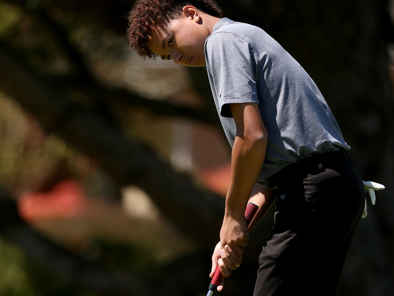 Sprague's Jonathan Scotto competes in the Mountain Valley Conference District championships at McNary Golf Club in Keizer on April 30, 2019.