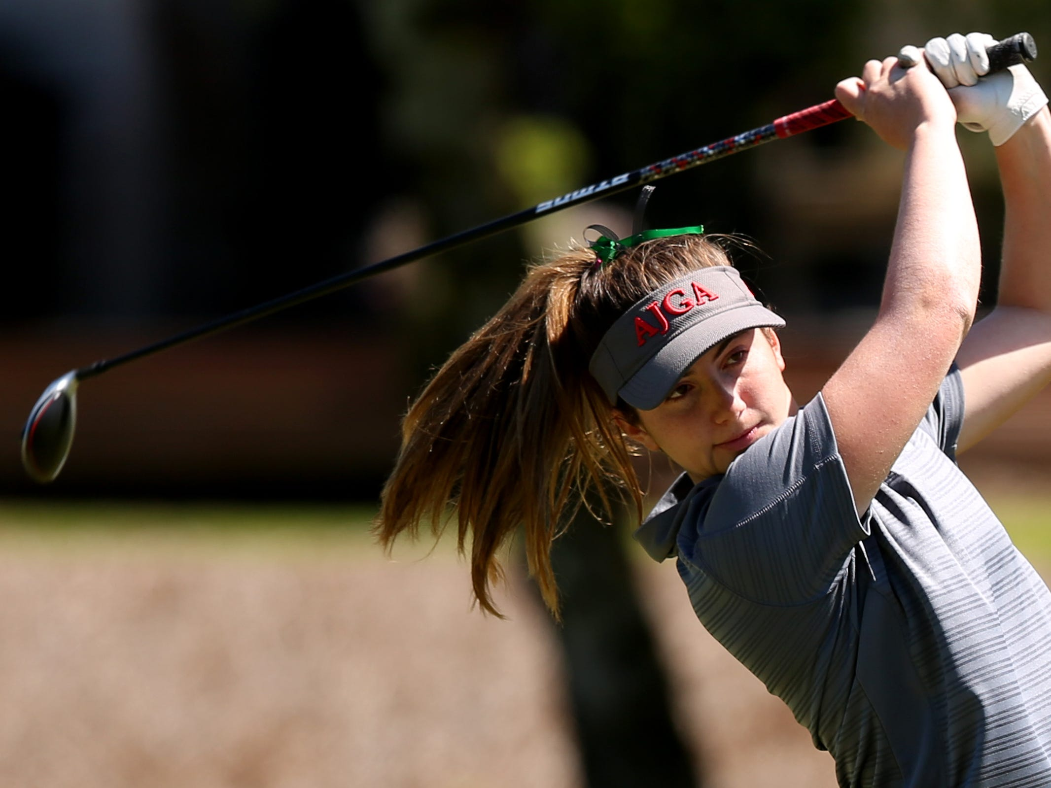 Summit's Sophie Dalfonsi competes in the Mountain Valley Conference District championships at McNary Golf Club in Keizer on April 30, 2019.