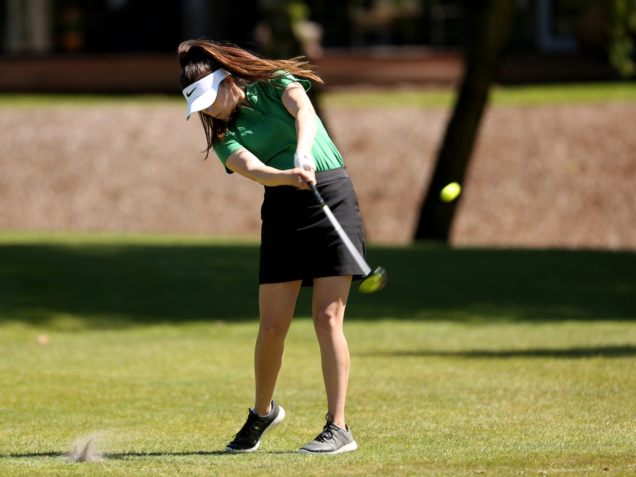 West Salem's Irelyn Stanley competes in the Mountain Valley Conference District championships at McNary Golf Club in Keizer on April 30, 2019.