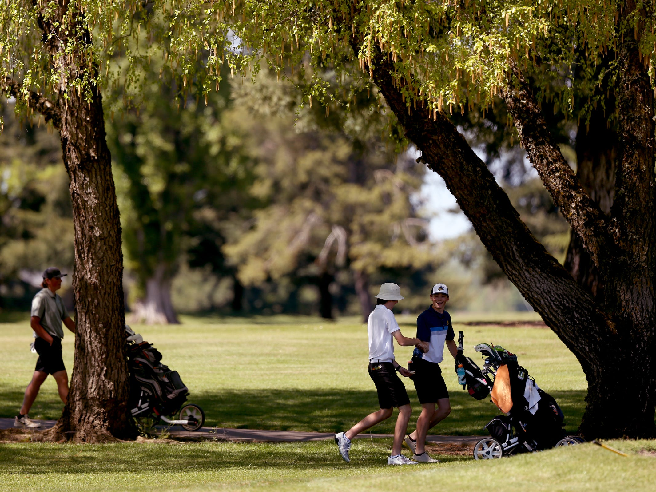 Bend's Tyler Floyd and West Salem's Brandon Eyre chat between holes in the Mountain Valley Conference District championships at McNary Golf Club in Keizer on April 30, 2019.