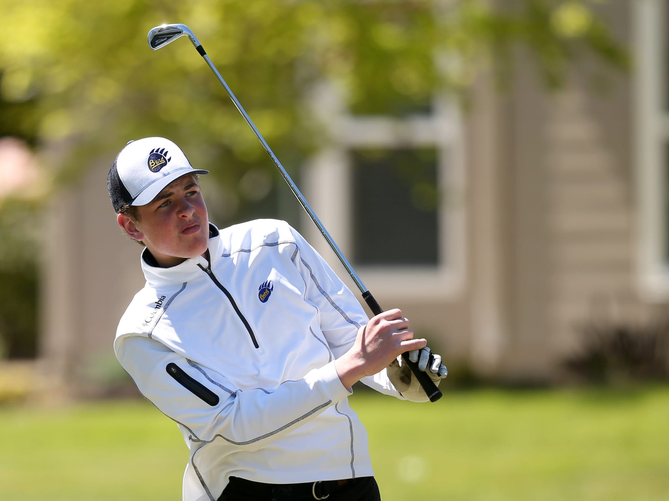 Bend's Parker Krovisky competes in the Mountain Valley Conference District championships at McNary Golf Club in Keizer on April 30, 2019.
