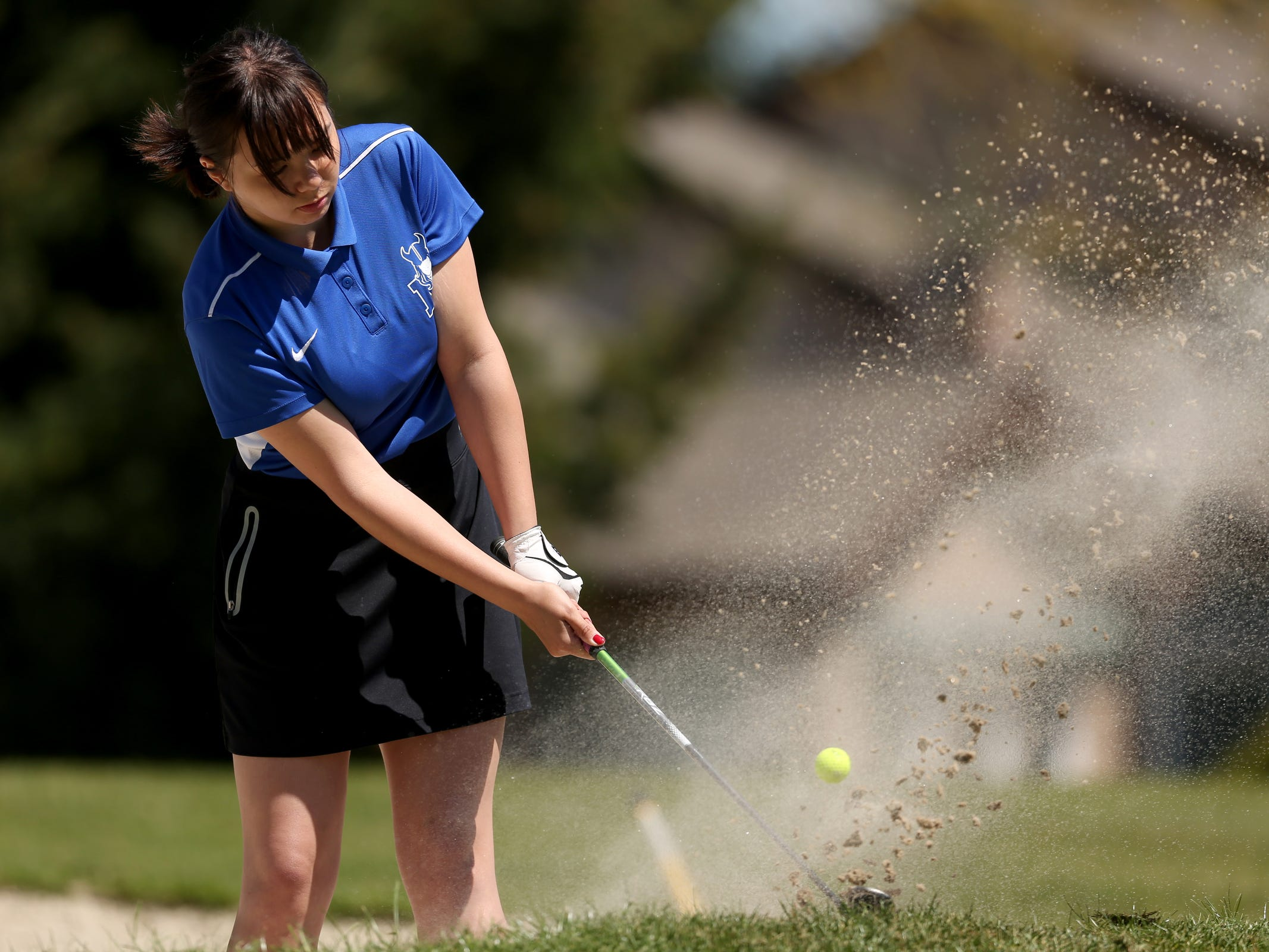 McNary's Juralee Stover competes in the Mountain Valley Conference District championships at McNary Golf Club in Keizer on April 30, 2019.
