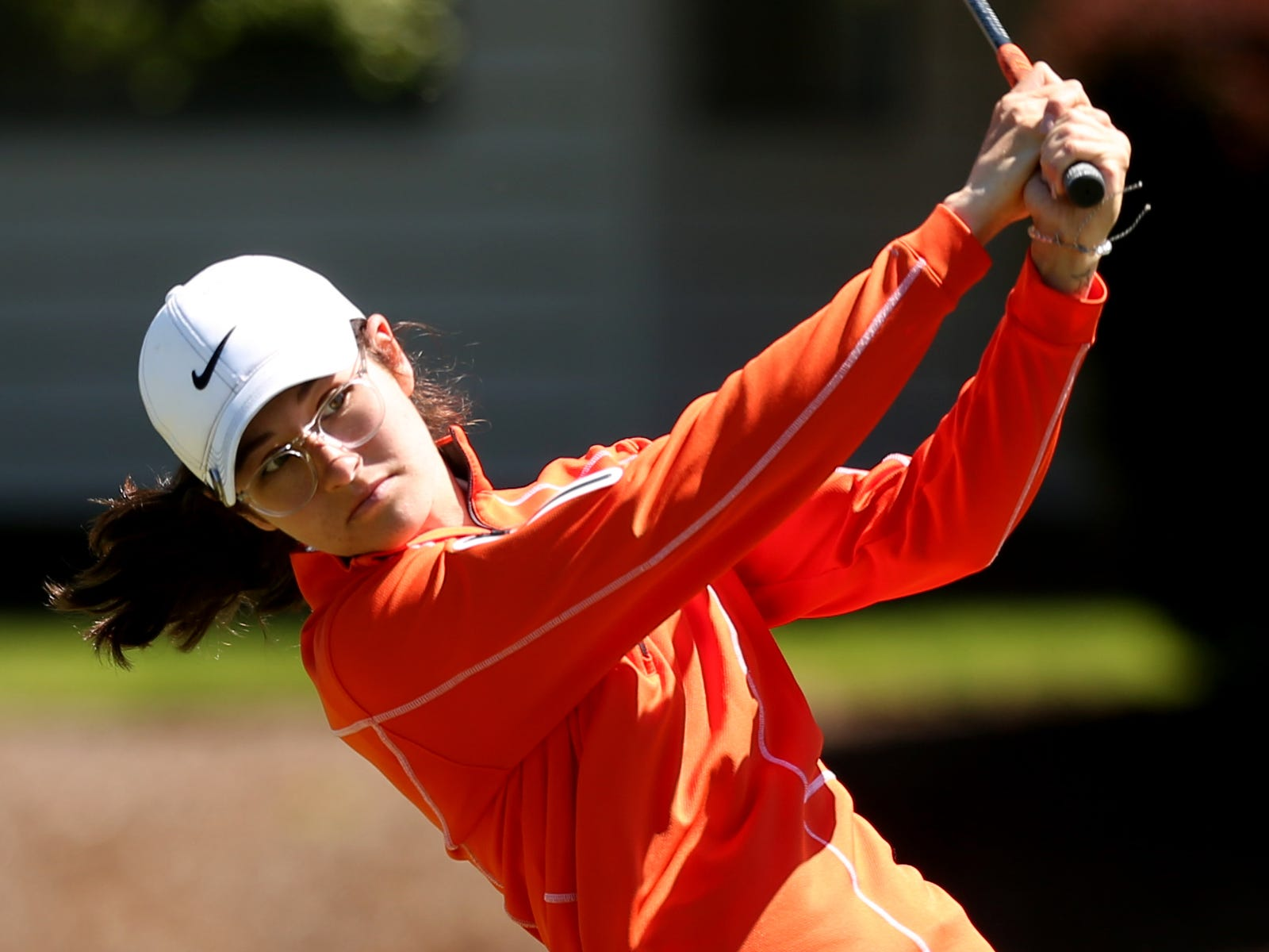 Sprague's Quincy Beyrouty competes in the Mountain Valley Conference District championships at McNary Golf Club in Keizer on April 30, 2019.