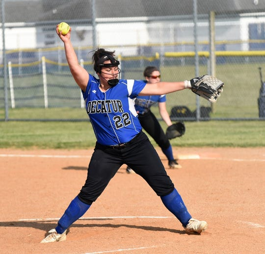 Stephen Decatur pitcher Lexi Black goes to throw against James M. Bennett on Tuesday, April 30, 2019.