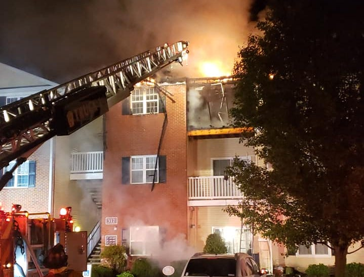 Crews battle a two-alarm blaze at a building in the Mill Pond Village Apartments complex in Salisbury shortly after 1:30 a.m. on Tuesday, April 30, 2019.