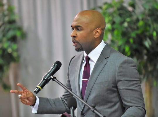 Jason Crafton is introduced as the new men's basketball coach at the University of Maryland Eastern Shore on Tuesday, April 30, 2019.