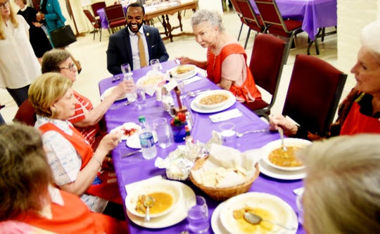 Shreveport Mayor Adrian Perkins surprised hosts when he stopped  by the popular Church of the Holy Cross Episcopal Soup Kitchen during  Lent. He stayed quite a while, visiting, listening to their city concerns, taking time for photo ops. The group serves soup during Lent and Advent.