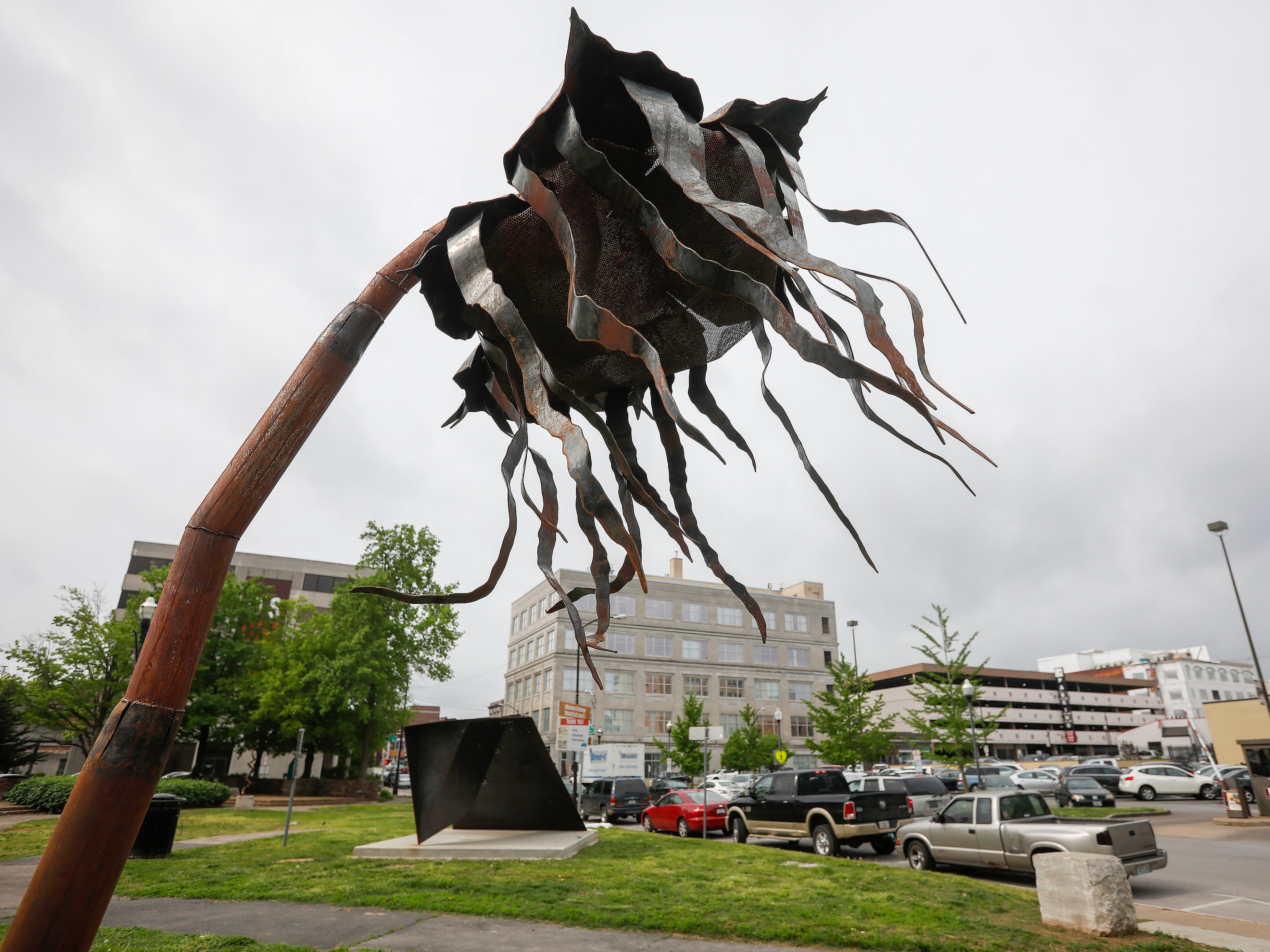 """Epidemic"" by Amanda Steimel is located in Jubilee Park at the corner of Jefferson Avenue and St. Louis Street."