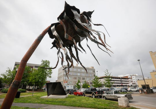 """""""Epidemic"""" by Amanda Steimel is located in Jubilee Park at the corner of Jefferson Avenue and St. Louis Street."""