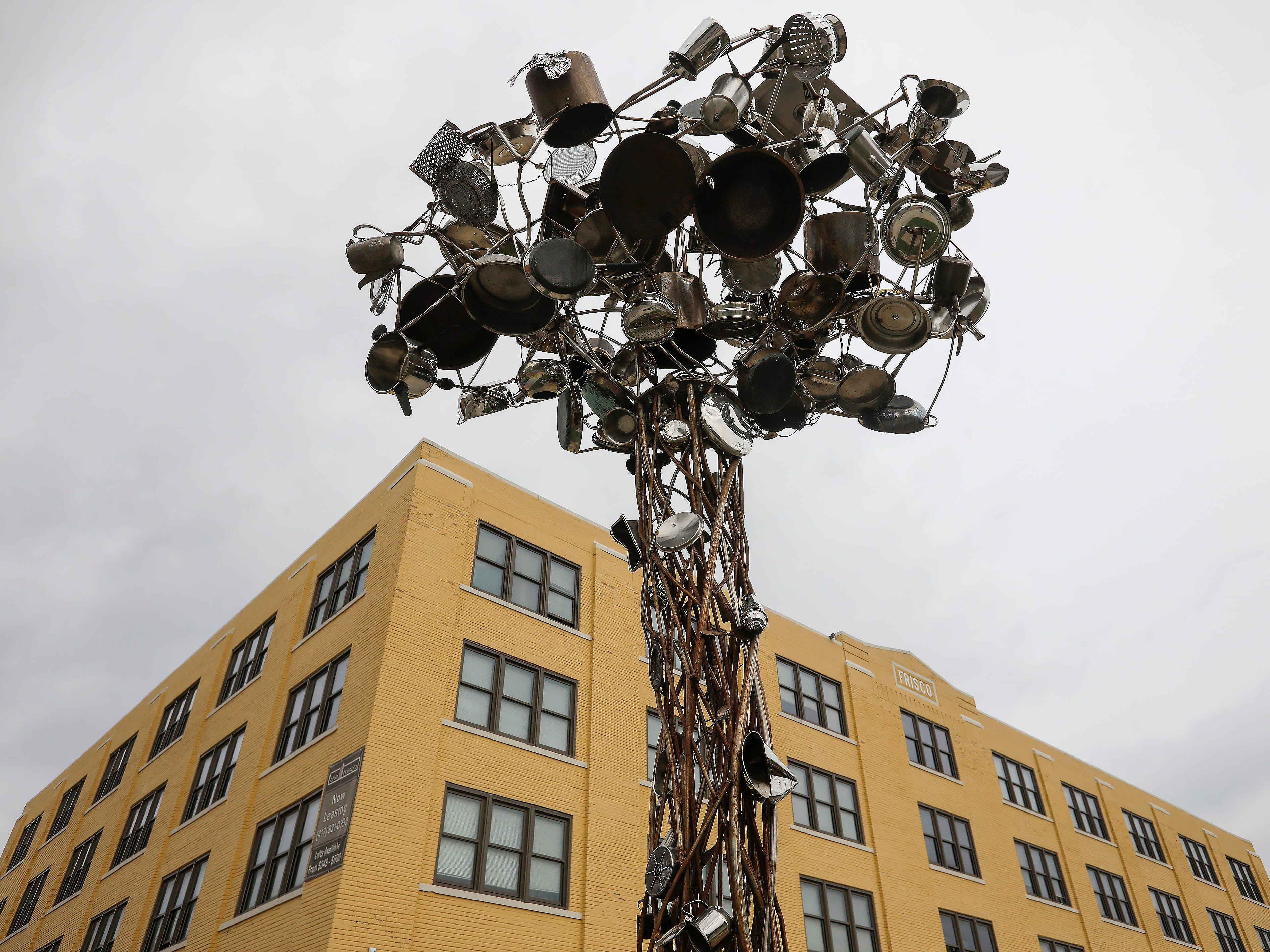 """Pantree"" by Mike Helbing is located on Olive Street and Jefferson Avenue."