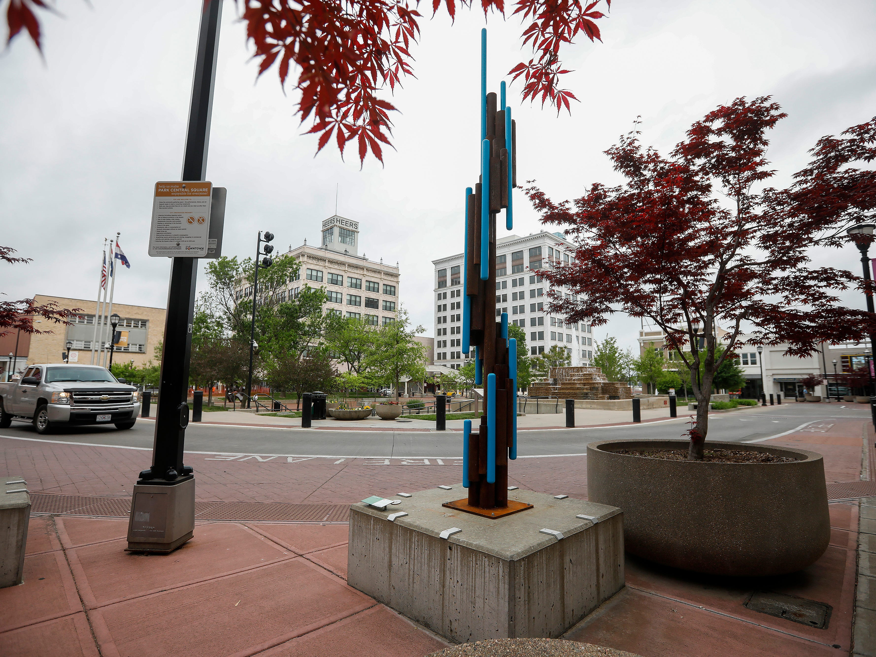 """Ascendents"" by Nick Willett is located on the southeast corner of Park Central Square."