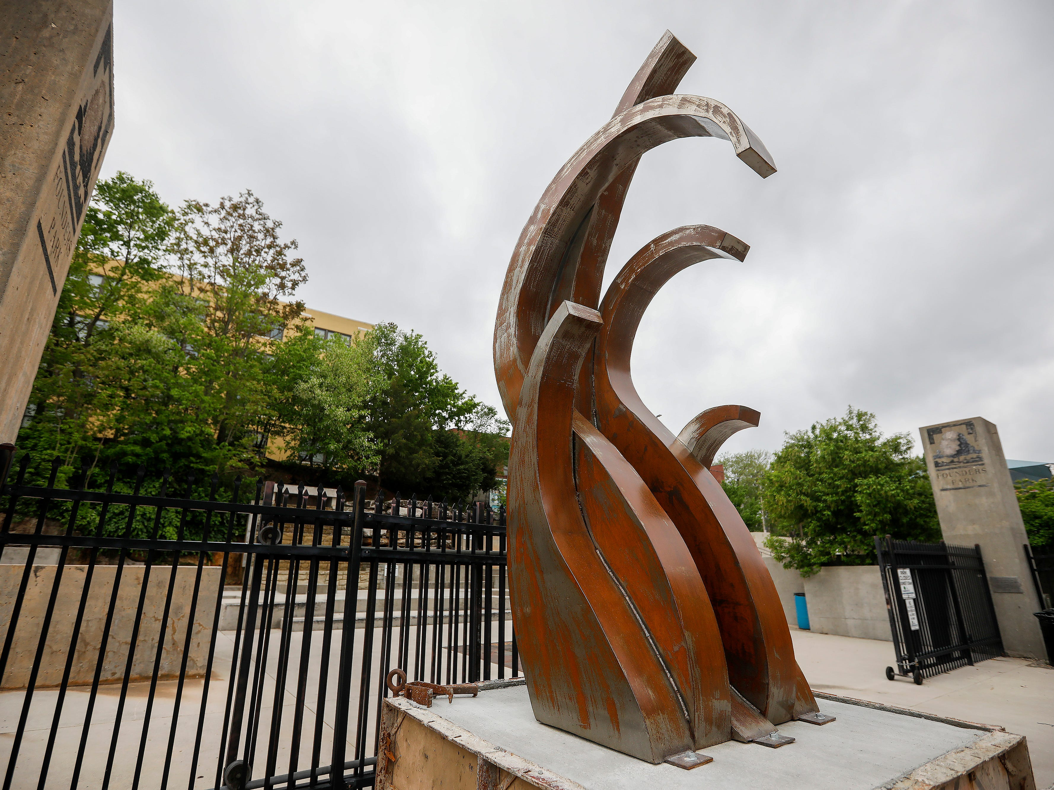 """Force"" by Jessica Lambert is located on Water Street outside Founders Park."