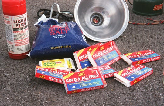 This is a News-Leader file photo. Among the items police confiscated from suspected meth labs are drain line opener, cold medicine, rock salt and a heat lamp.
