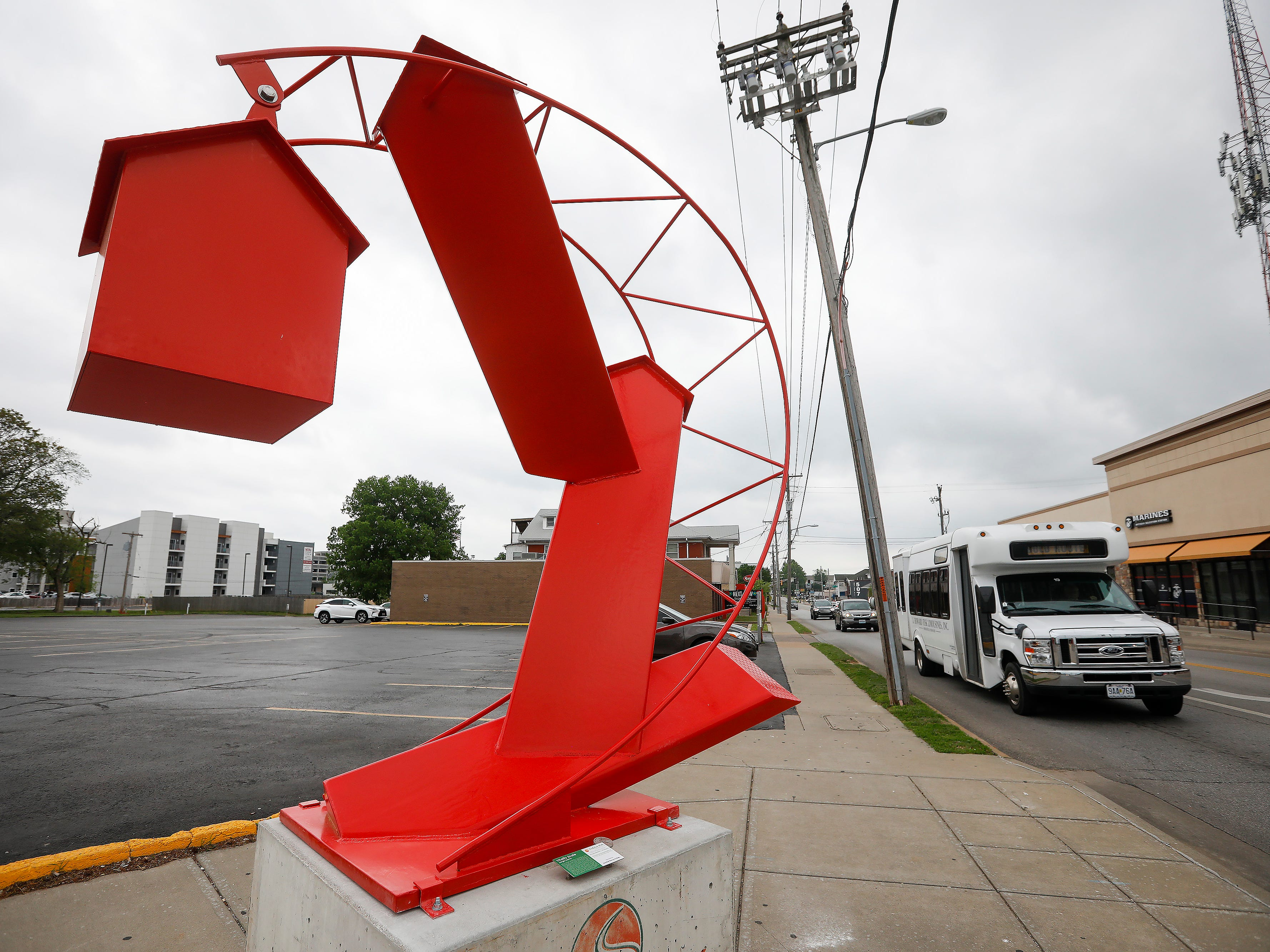 """Vitality Scale"" by Jorge Leyva is located at Kimbrough Avenue and Walnut Street."