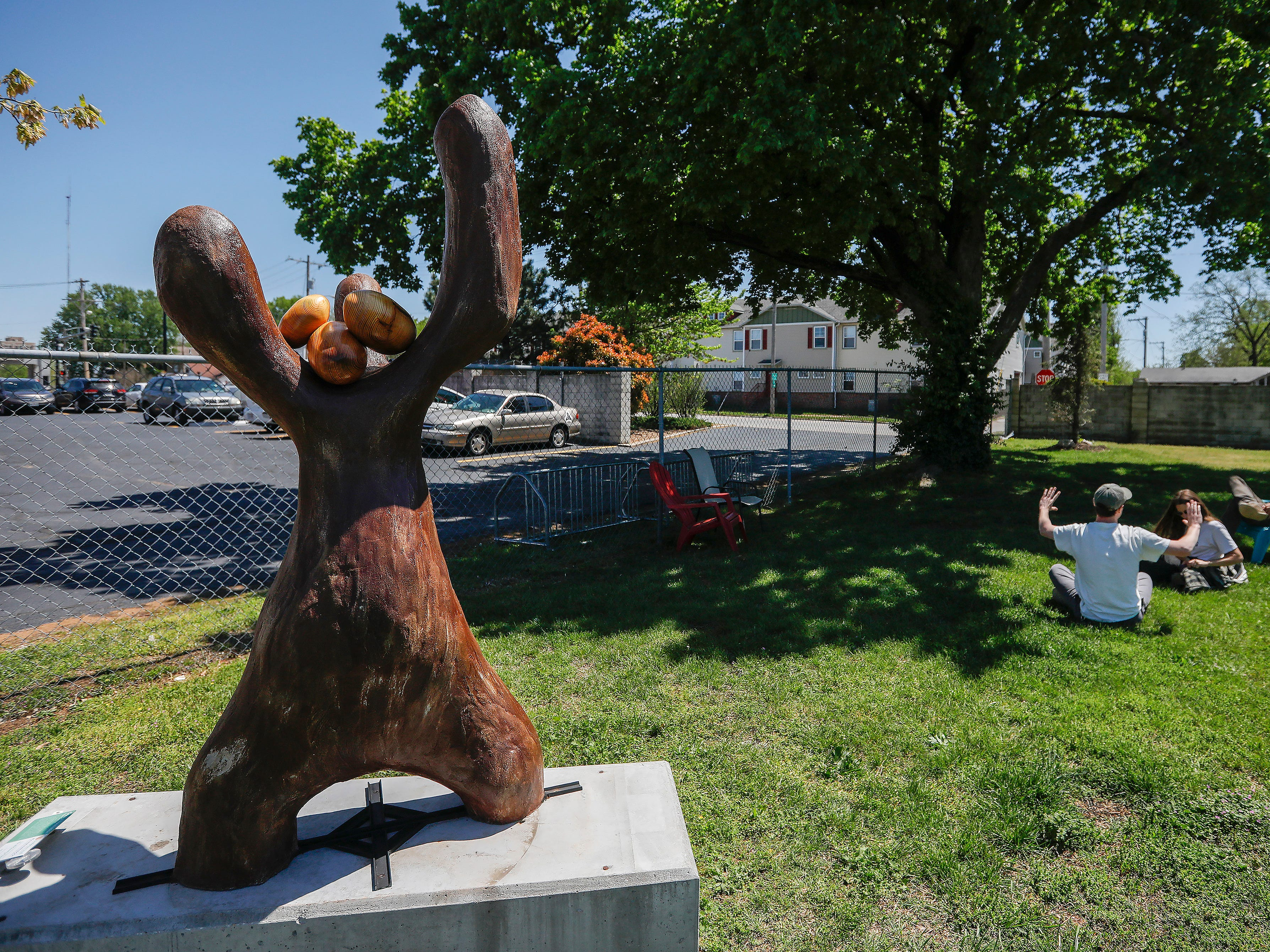 """Body"" by Sarah Stracke is located in the backyard at Mother's Brewing Company."