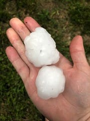 Holly Michelle posted hail near Golden, Missouri, 70 miles from Springfield.