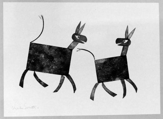 """A block print of mules from Smith's """"Zoological Garden"""" portfolio."""