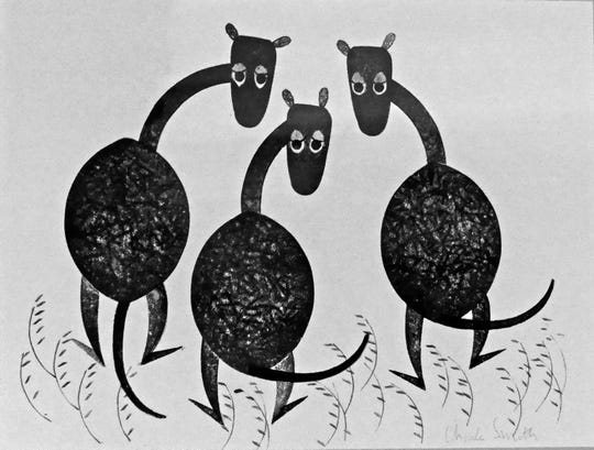 "A block print of giraffes from Smith's ""Zoological Garden"" portfolio."