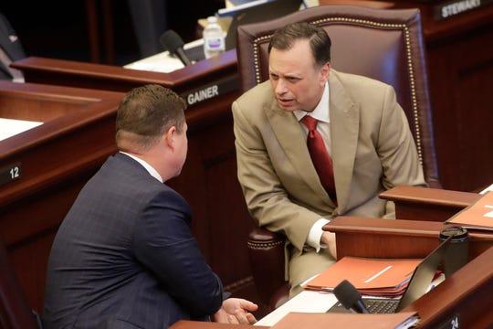 Senators Jeff Brandes, R- St. Petersburg and Tom Lee, R- Brandon, talk as the Florida Senate is in session Tuesday, April 30, 2019.