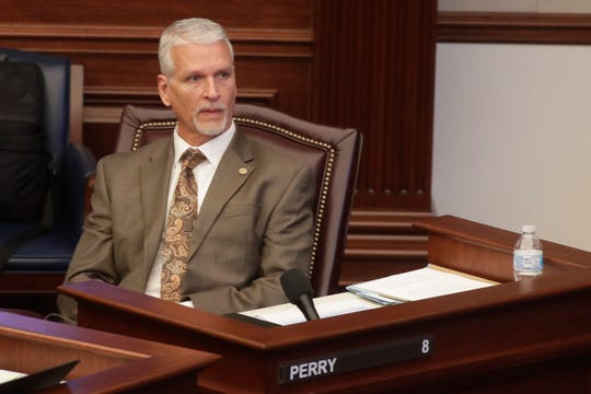 Sen. Keith Perry, R- Gainesville, sits at his desk as the Florida Senate is in session Tuesday, April 30, 2019.