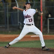 Wakulla junior Trent Langley pitches in relief as Wakulla's baseball team beat Franklin County 8-0 during a home game on Monday, April 29, 2019.