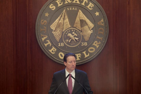 Senate President Bill Galvano leads as the body is in session Tuesday, April 30, 2019.