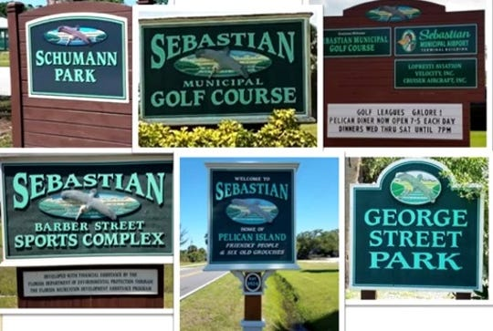 A sampling of signs throughout Sebastian. Officials want to bring a more uniform vision to signage around the city, including roadways, parks and gateways.