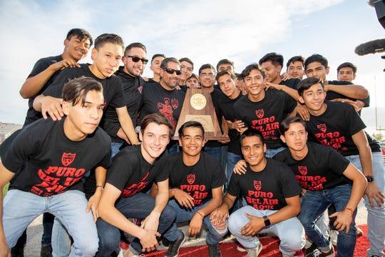 Bel Air High School boys soccer fans celebrate the 2019 UIL 5A state champion boy's soccer team Monday, April 29, at Highlander Stadium.