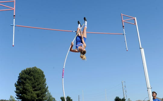 Westlake High sophomore Paige Sommers clears 13 feet, 6 inches to break her own Ventura County record at the Marmonte League Track and Field Championships on April 26. After placing third in the state last year, Sommers hopes to become the first female to win a state pole vault title in county history.
