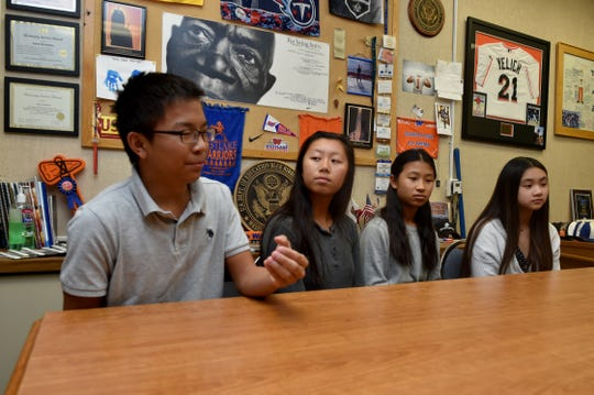 (From left) Charles Qin, Bethany Tong, Angela Ling and Charisse Chua speak about their company, Collegae, which aims to connect graduating seniors with college students for networking and advice. The four Westlake High students, along with Joshua Woo (not pictured) founded the business and launched their company website earlier this year.