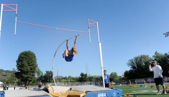 Westlake High sophomore Paige Sommers begins her ascent en route to breaking her own Ventura County record in the pole vault, clearing 13 feet, 6 inches at the Marmonte League Track and Field Championships on April 26.
