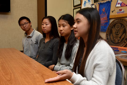 From left, Charles Qin, Bethany Tong, Angela Ling and Charisse Chua speak about their company, Collegae, which aims to connect graduating seniors with college students for networking and advice. The four Westlake High students, along with Joshua Woo (not pictured) founded the business and launched their company website earlier this year.