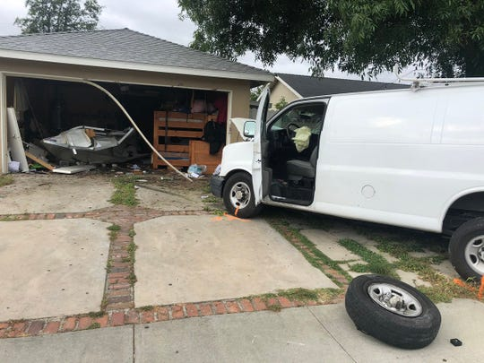 This was the scene of a crash where a vehicle crashed into a home in Simi Valley that sent the driver to a local hospital on Tuesday afternoon.