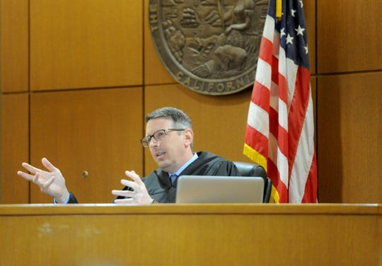 Ventura County Superior Court Judge Derek Malan explains sentencing in a case earlier this year in Ventura County Superior Court.
