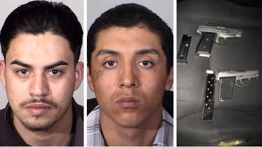 Oxnard police said they arrested these two men and seized two discarded handguns when they busted up a group of loiterers Monday night in the Lemonwood area.